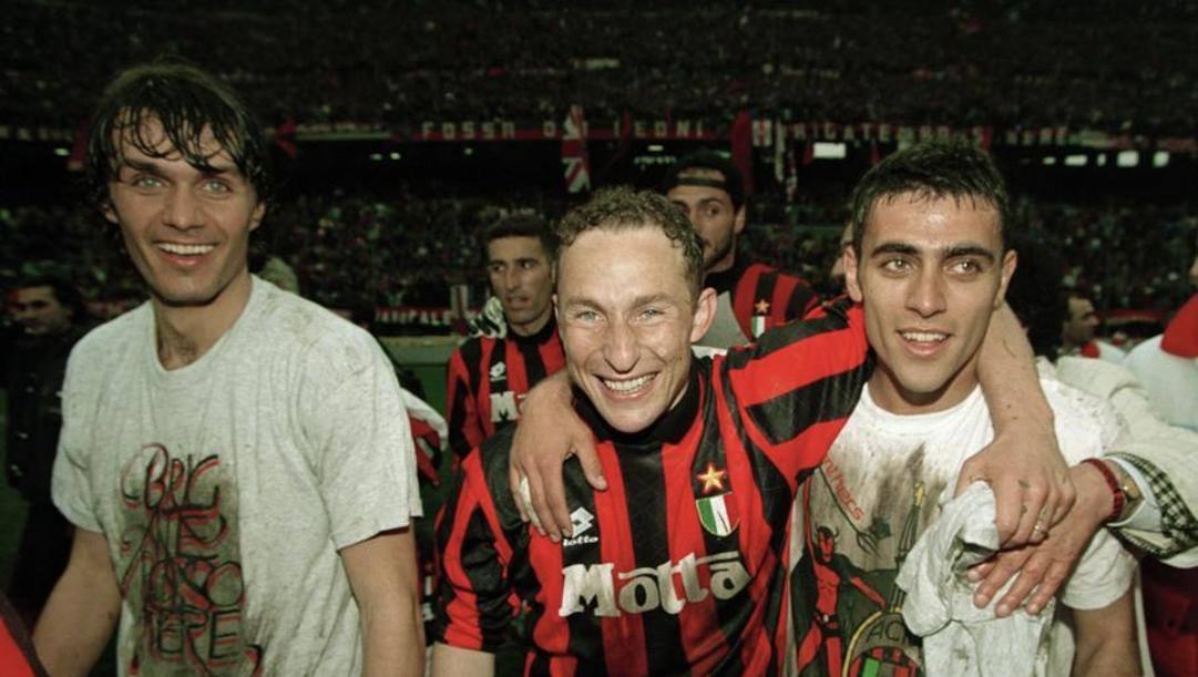 Papin con Maldini e Angelo Carbone.